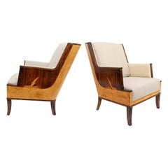 Erik Chamber Designed Armchairs with Marquetry, Swedish Art Deco
