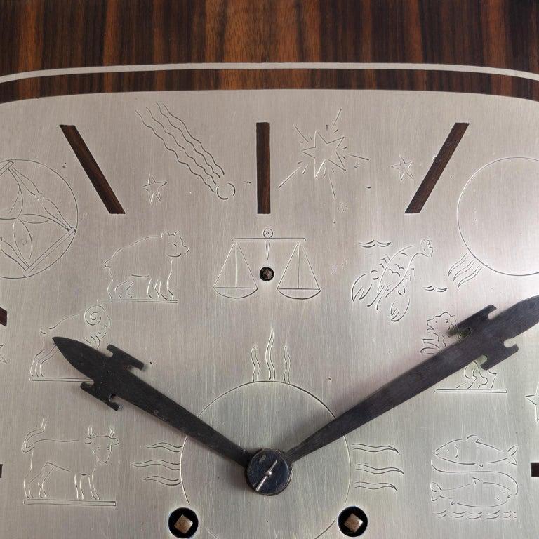 Erik Chambert Swedish Art Deco Floor Clock in Rosewood and Decorative Marquetry For Sale 3