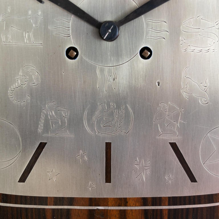 Erik Chambert Swedish Art Deco Floor Clock in Rosewood and Decorative Marquetry For Sale 4