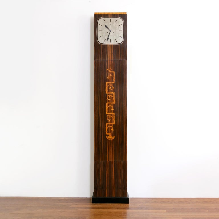 Scandinavian Modern Erik Chambert Swedish Art Deco Floor Clock in Rosewood and Decorative Marquetry For Sale