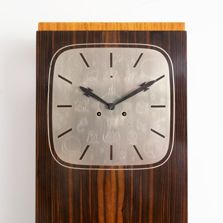 Scandinavian Erik Chambert Swedish Art Deco Floor Clock in Rosewood and Decorative Marquetry For Sale