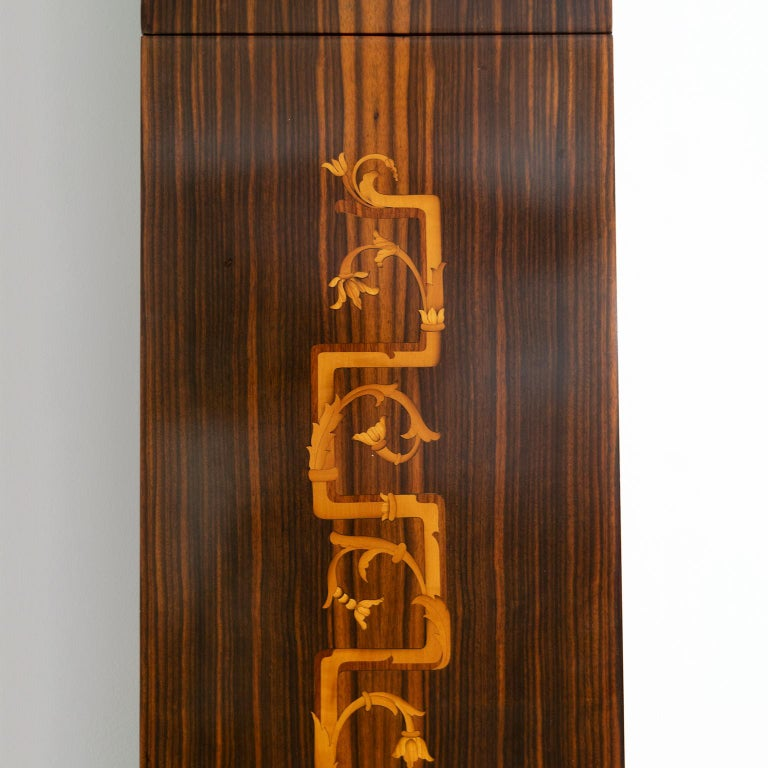Erik Chambert Swedish Art Deco Floor Clock in Rosewood and Decorative Marquetry In Good Condition For Sale In New York, NY