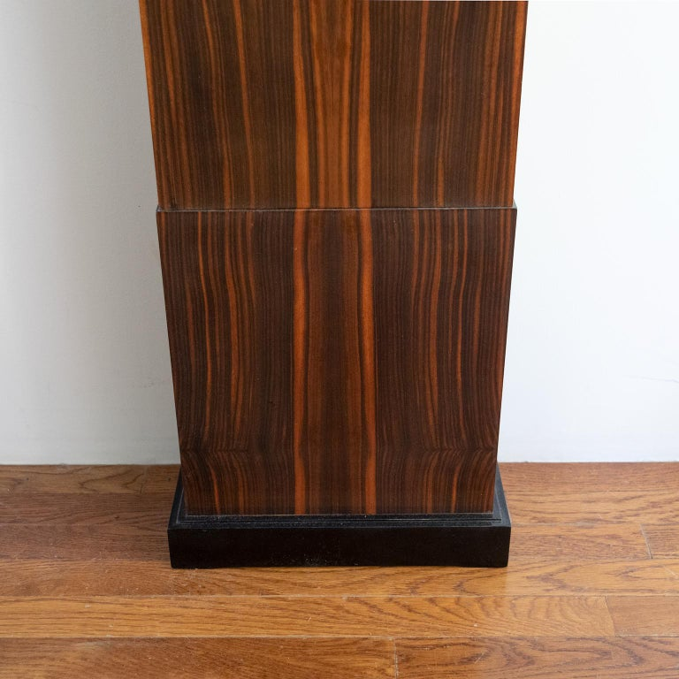 20th Century Erik Chambert Swedish Art Deco Floor Clock in Rosewood and Decorative Marquetry For Sale