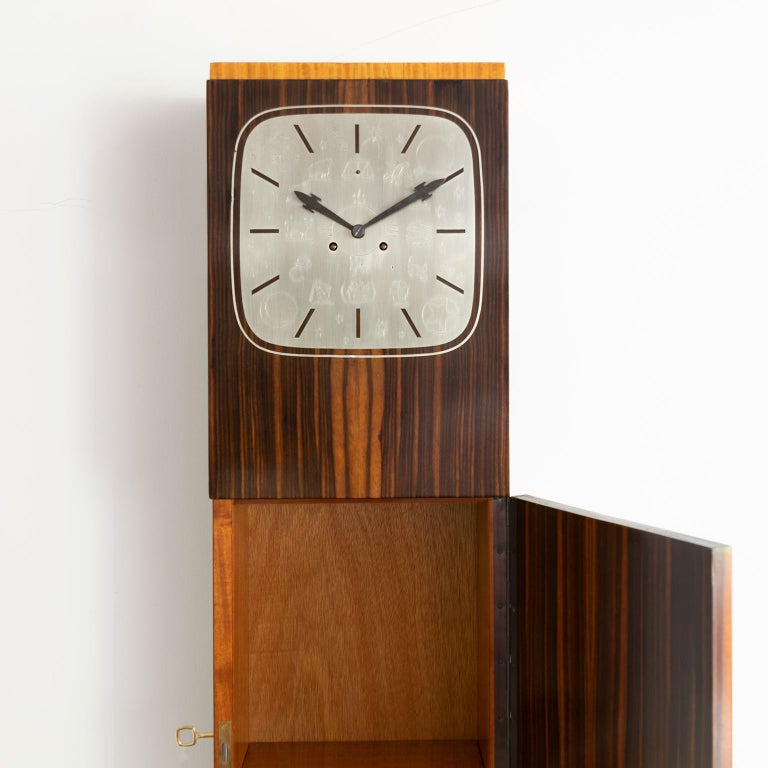 Pewter Erik Chambert Swedish Art Deco Floor Clock in Rosewood and Decorative Marquetry For Sale