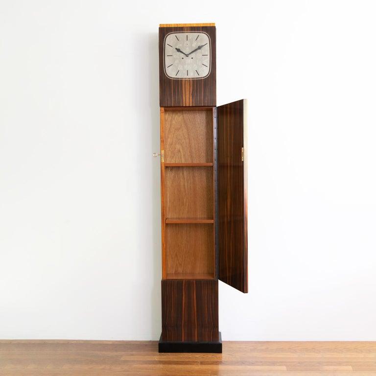 Erik Chambert Swedish Art Deco Floor Clock in Rosewood and Decorative Marquetry For Sale 1
