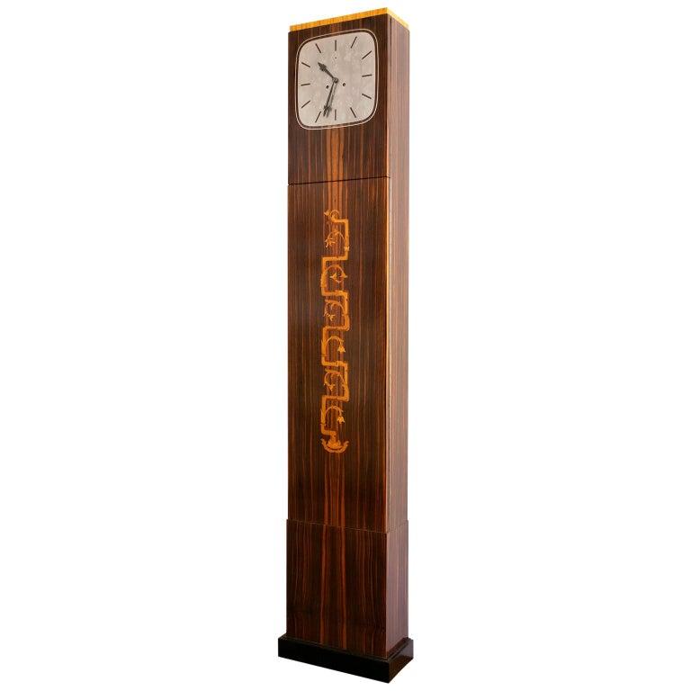 Erik Chambert Swedish Art Deco Floor Clock in Rosewood and Decorative Marquetry For Sale