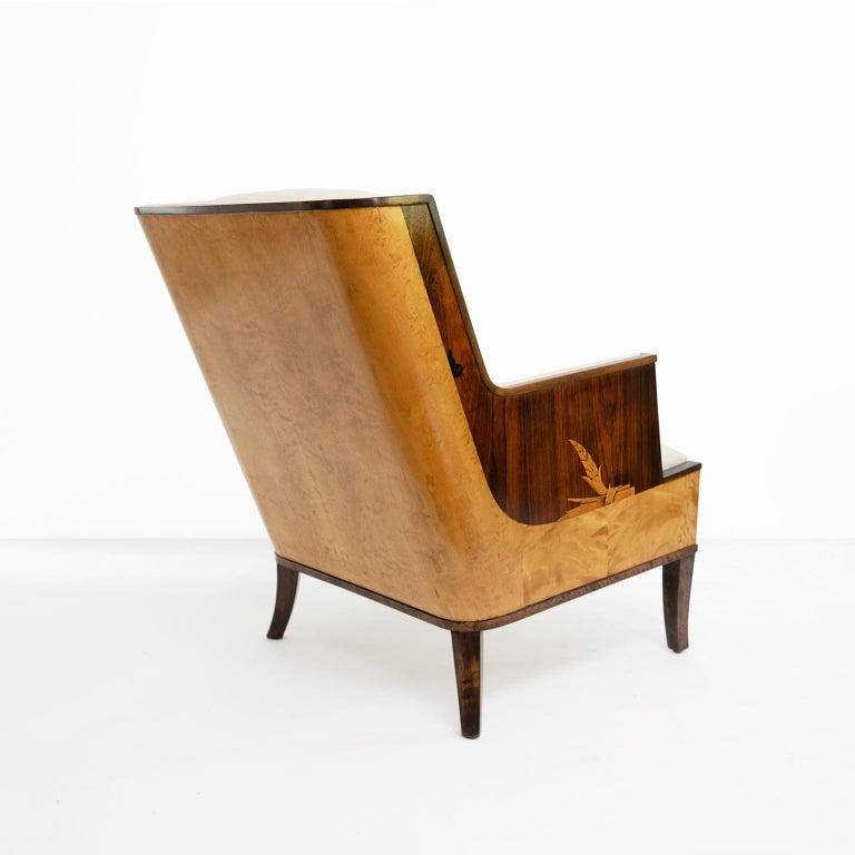 Erik Chambert Swedish Art Deco Scandinavian Modern Marquetry Lounge Chairs For Sale 5