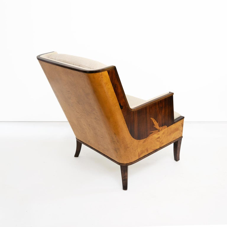 Erik Chambert Swedish Art Deco Scandinavian Modern Marquetry Lounge Chairs For Sale 6