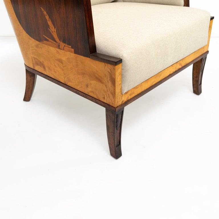 Erik Chambert Swedish Art Deco Scandinavian Modern Marquetry Lounge Chairs For Sale 7