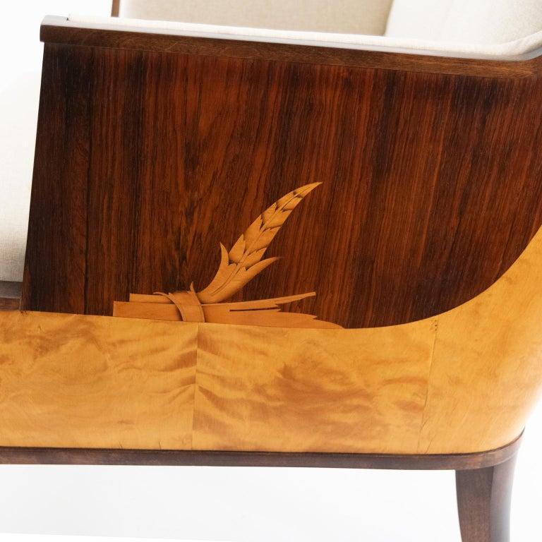 Erik Chambert Swedish Art Deco Scandinavian Modern Marquetry Lounge Chairs For Sale 8