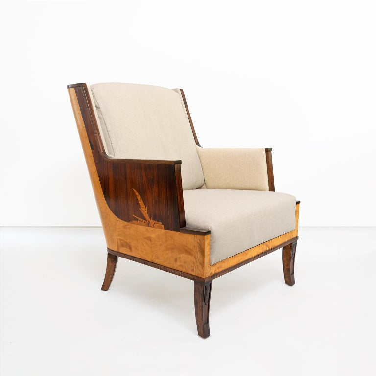 Erik Chambert Swedish Art Deco Scandinavian Modern Marquetry Lounge Chairs In Good Condition For Sale In New York, NY