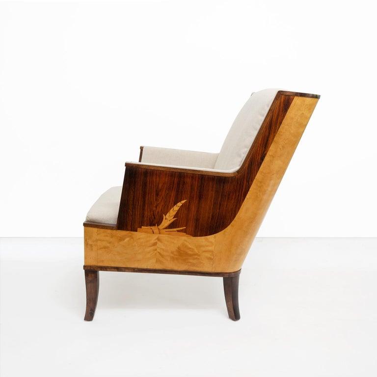 20th Century Erik Chambert Swedish Art Deco Scandinavian Modern Marquetry Lounge Chairs For Sale