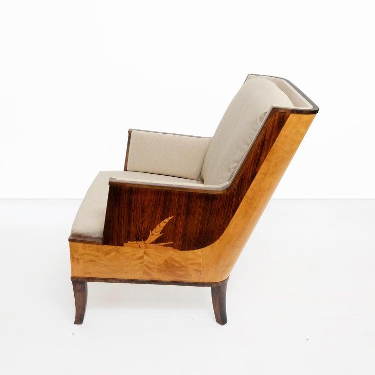Rosewood Erik Chambert Swedish Art Deco Scandinavian Modern Marquetry Lounge Chairs For Sale