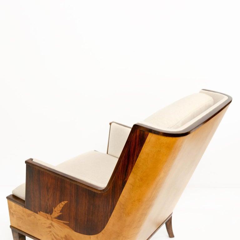 Erik Chambert Swedish Art Deco Scandinavian Modern Marquetry Lounge Chairs For Sale 1