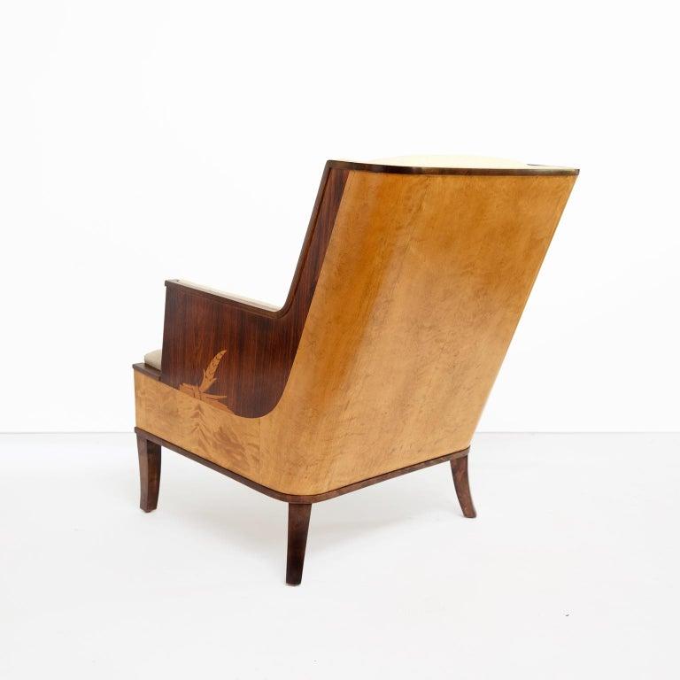 Erik Chambert Swedish Art Deco Scandinavian Modern Marquetry Lounge Chairs For Sale 2