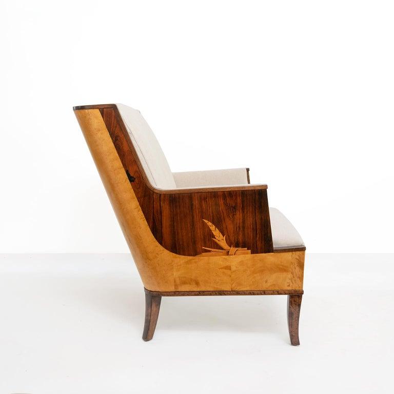Erik Chambert Swedish Art Deco Scandinavian Modern Marquetry Lounge Chairs For Sale 4