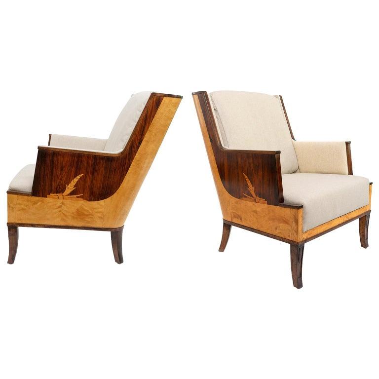 Erik Chambert Swedish Art Deco Scandinavian Modern Marquetry Lounge Chairs For Sale