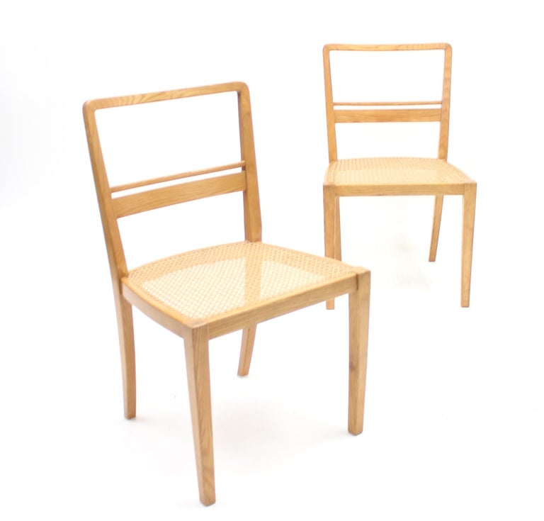 Cane Erik Chambert, Very Rare Pair of Chairs, AB Chamberts Möbelfabrik, 1937 For Sale
