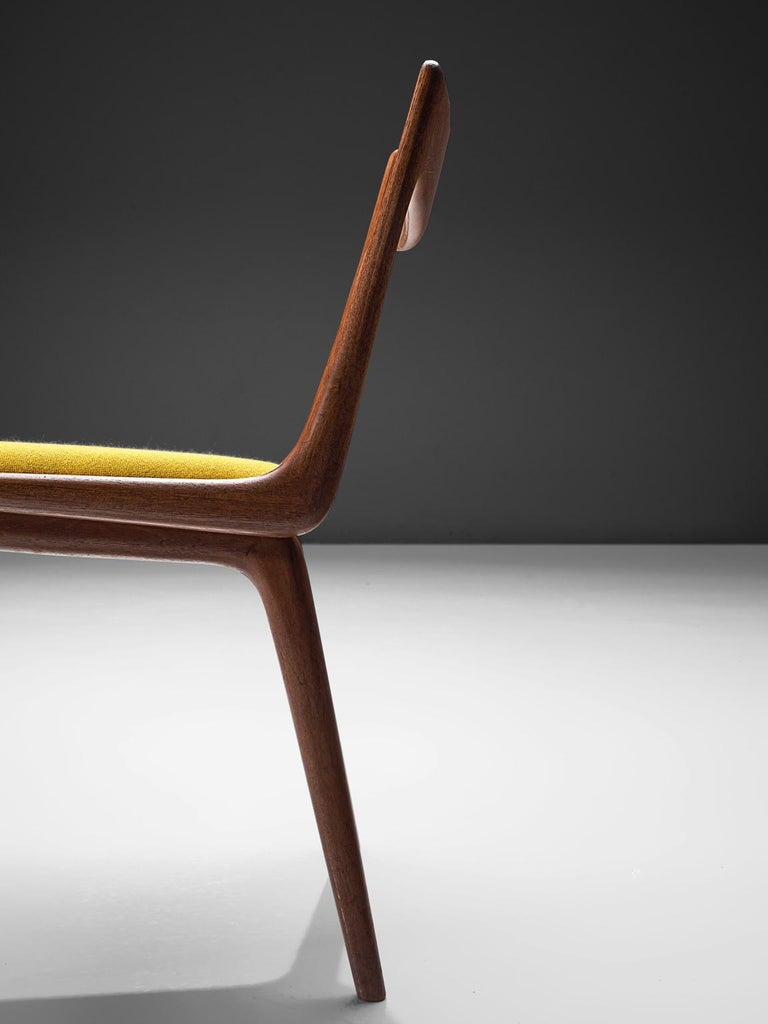 Fabric 'Boomerang' Chairs in Teak by Alfred Christensen