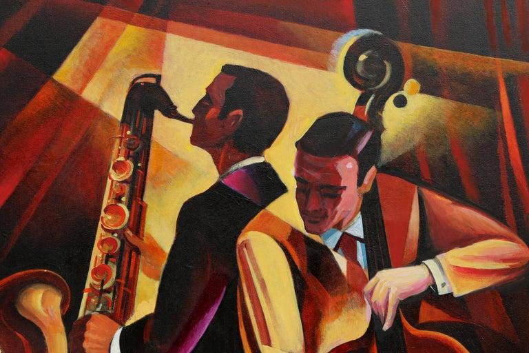 Duet #1, Large Art Deco Painting by Erik Freyman For Sale 1