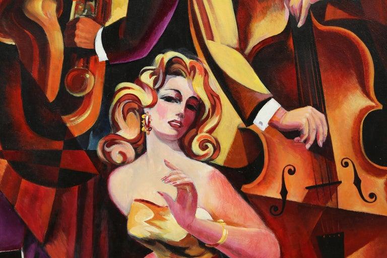 Duet #1, Large Art Deco Painting by Erik Freyman For Sale 5