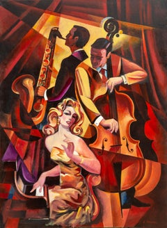 Duet #1, Large Art Deco Painting by Erik Freyman