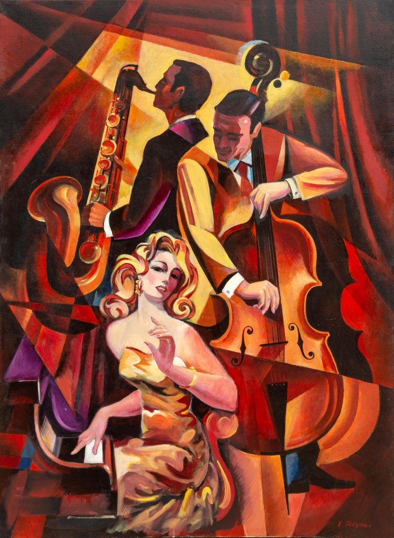 """""""Duet #1"""" is an original painting on canvas measuring 48 x 36 inches by Erik Freyman.  The artist is best known for his 80's style which draws heavily on Art Deco and Cubism.    Freyman was born in Leningrad. U.S.S.R. in 1932. Erik Freyman brings a"""