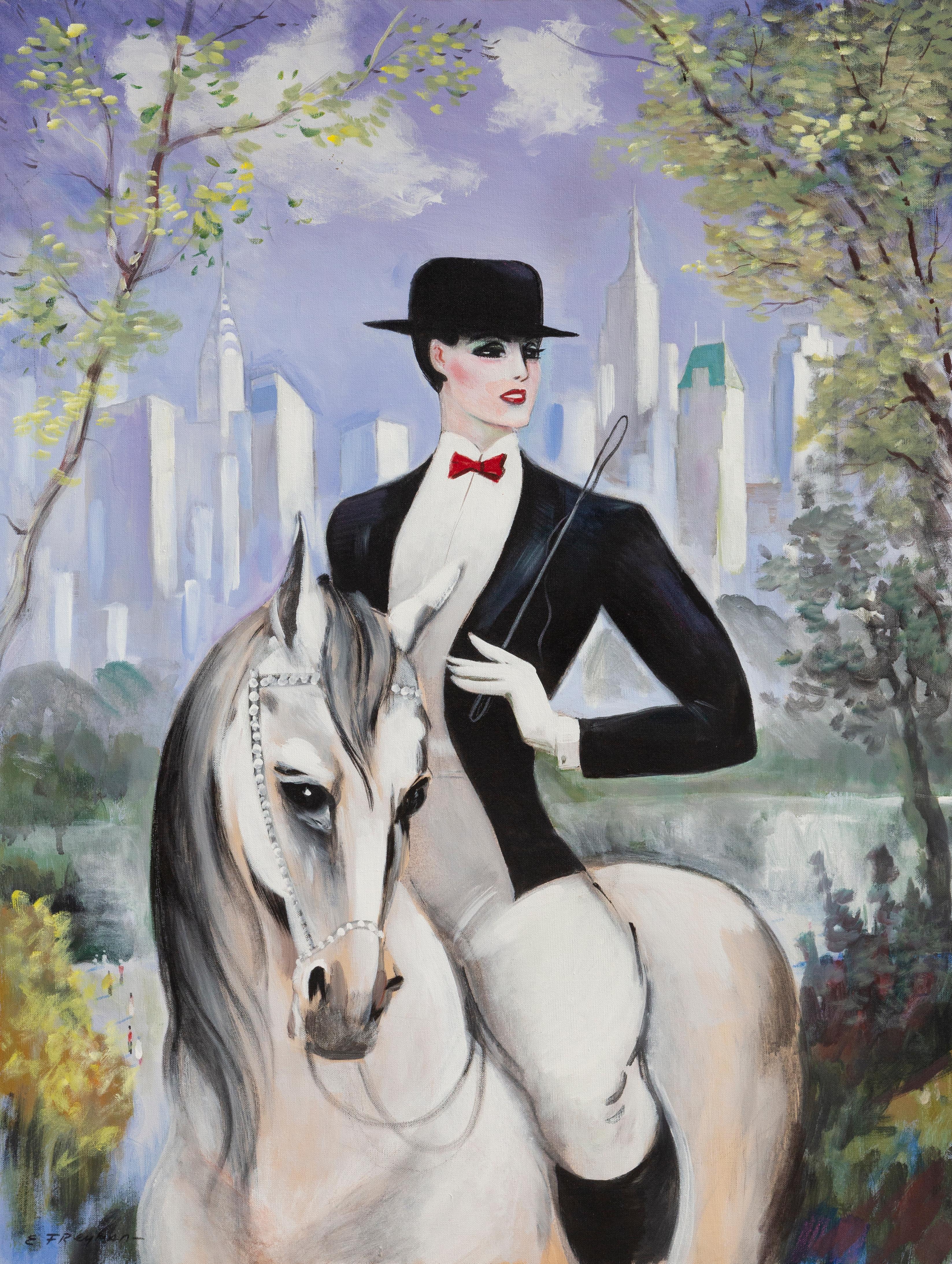 Equestrienne, Large Art Deco Painting by Erik Freyman