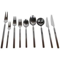 """Erik Herlow for Copenhagen Cutlery """"Obelisk"""" Pattern Midcentury Flatware Set"""