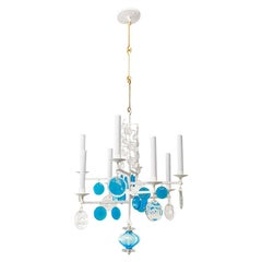 Erik Hoglund Electrified 8-arm Iron, Clear and Blue Crystal Chandelier