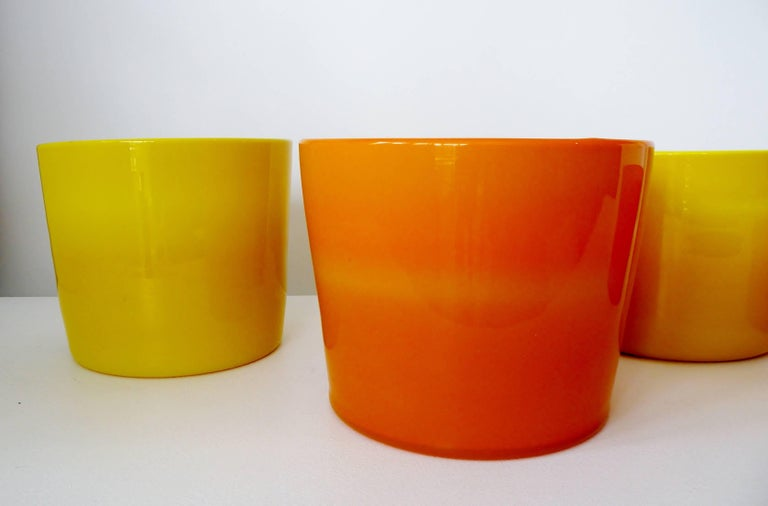 A collection of four art glass vases or planters designed by Erik Hoglund in the 1960s for Boda Glassworks Sweden. 