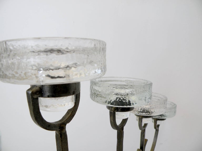 20th Century Erik Hoglund for Boda Nova Crystal and Iron Seven-Light Candelabrum For Sale