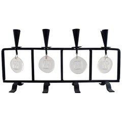 Erik Höglund for Kosta Boda, Candleholder in Cast Iron with Mouth Blown Glasses