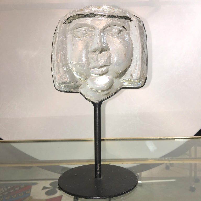 Erik Hoglund for Kosta Boda artglass sculpture, face, or head, mounted on steel base, signed BODA on bottom base, Sweden, 1960s.