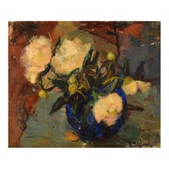 Erik Höglund, Sweden, Oil on Canvas, Still Life with Flowers, 1960s / 70s