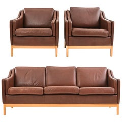 Erik Jorgensen Style Leather Sofa Suite