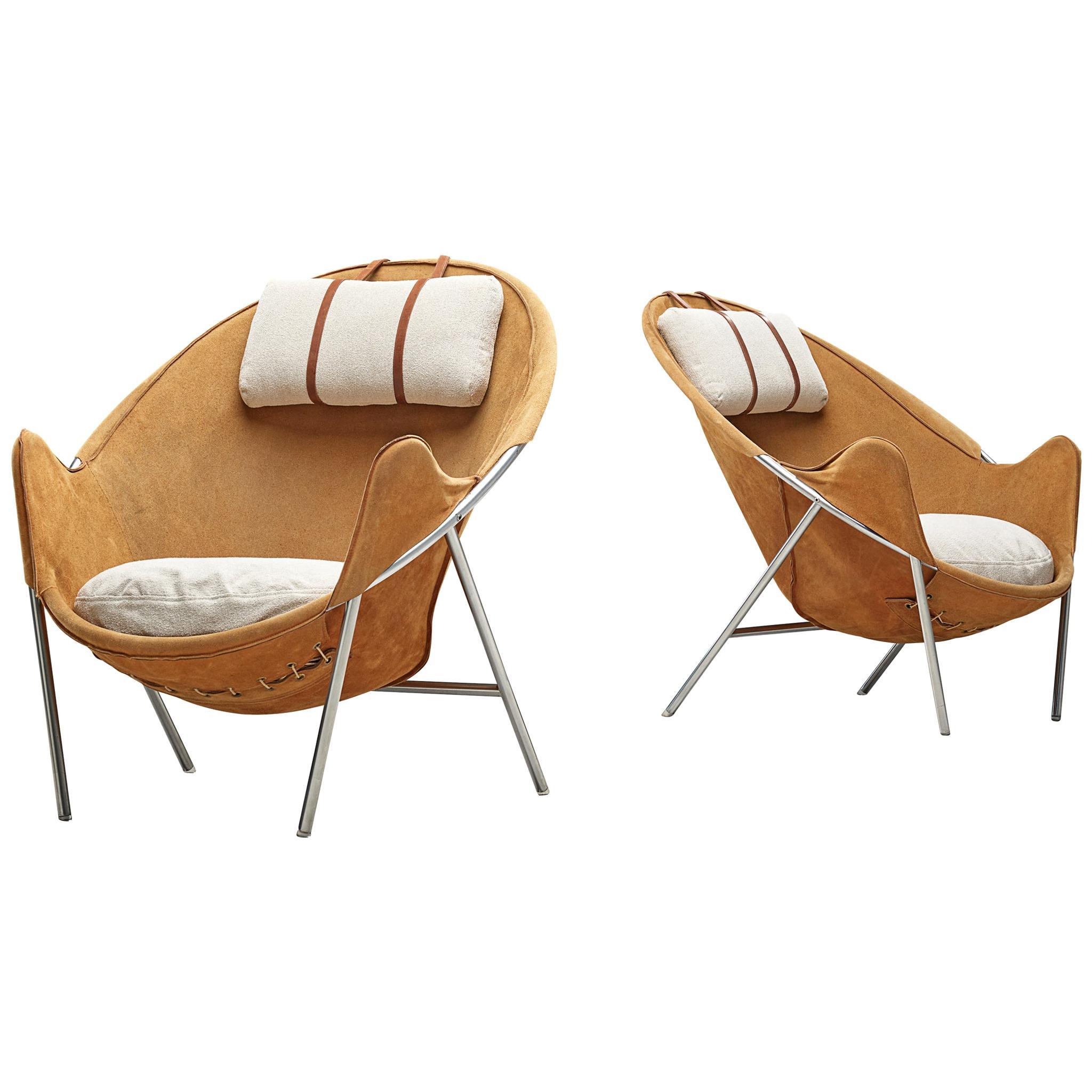 Erik Jørgensen Lounge Chairs in Cognac Suede