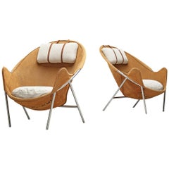 Erik Jørgensen Lounge Chairs in Cognac Suede