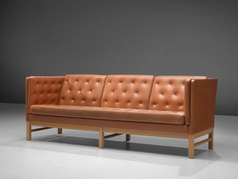 Scandinavian Modern Erik Jørgensen Original Cognac Leather Sofa For Sale