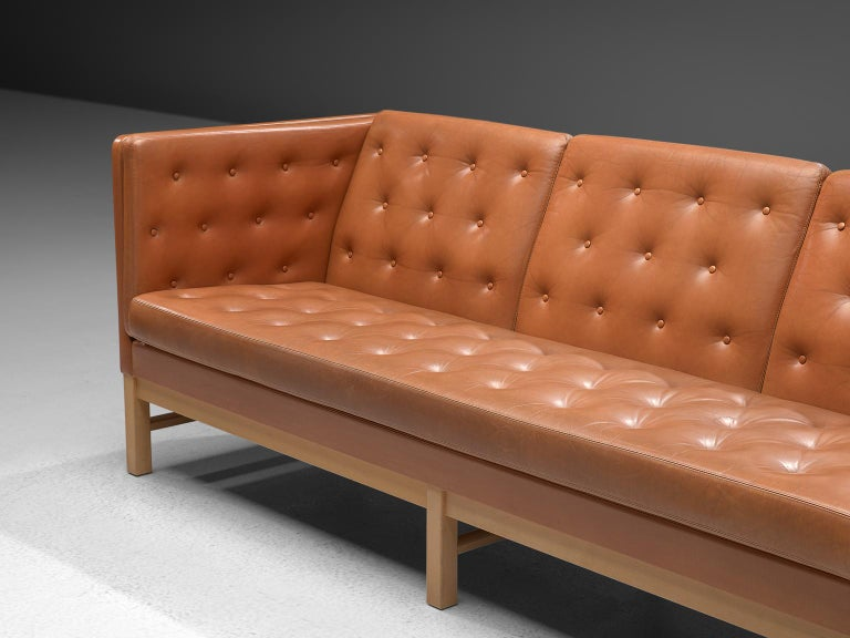 Danish Erik Jørgensen Original Cognac Leather Sofa For Sale