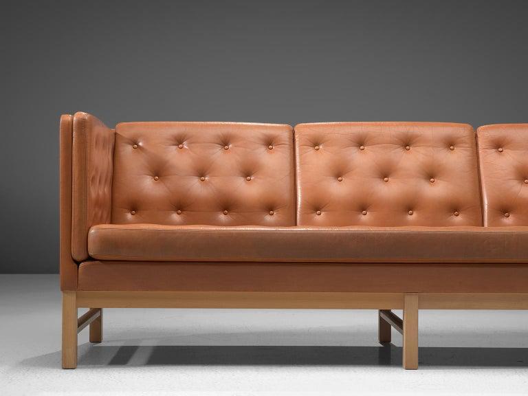 Erik Jørgensen Original Cognac Leather Sofa In Good Condition For Sale In Waalwijk, NL