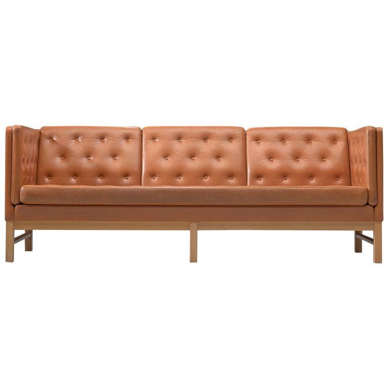 Erik Jørgensen Original Cognac Leather Sofa For Sale