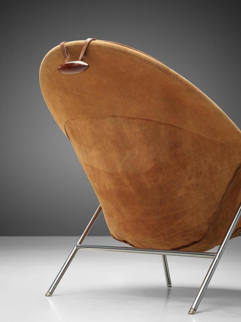 Erik Jørgensen Pair of Lounge Chairs in Cognac Suede For Sale 4