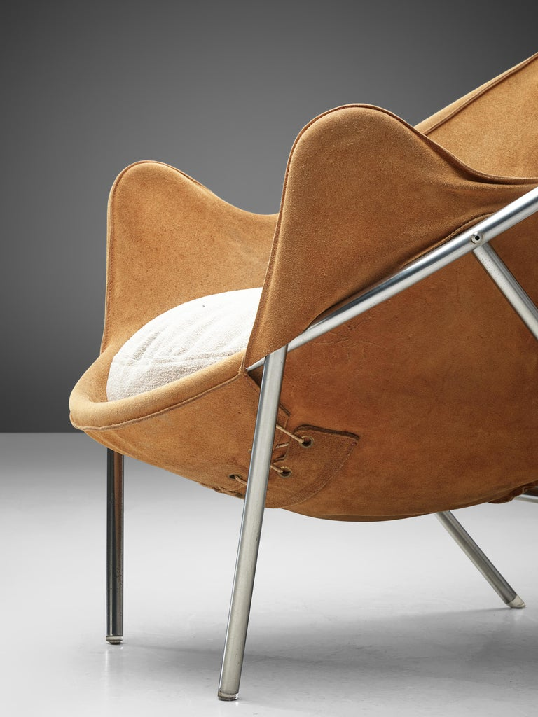 Scandinavian Modern Erik Jørgensen Pair of Lounge Chairs in Cognac Suede For Sale