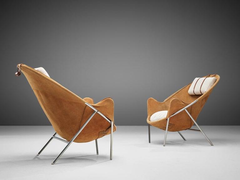 Danish Erik Jørgensen Pair of Lounge Chairs in Cognac Suede For Sale