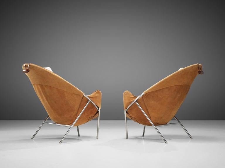 Mid-20th Century Erik Jørgensen Pair of Lounge Chairs in Cognac Suede For Sale