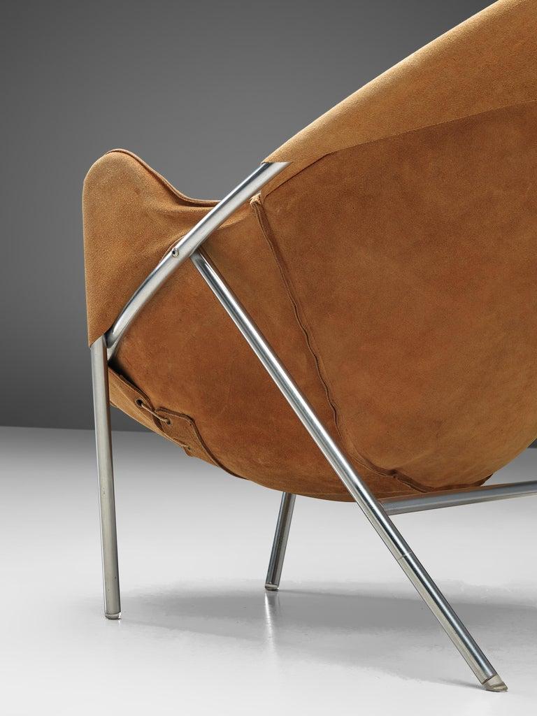Metal Erik Jørgensen Pair of Lounge Chairs in Cognac Suede For Sale
