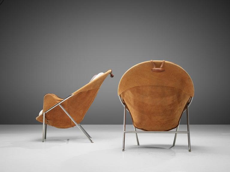 Erik Jørgensen Pair of Lounge Chairs in Cognac Suede For Sale 1