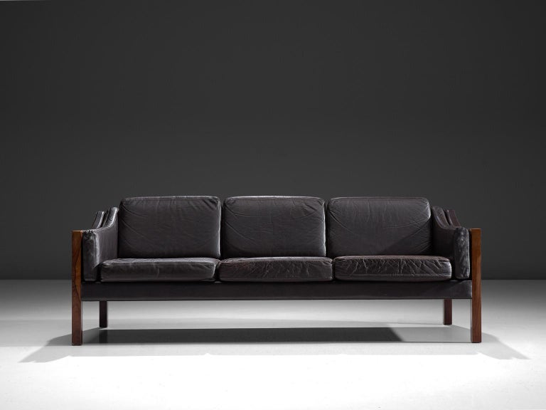 Scandinavian Modern Erik Jørgensen Sofa in Dark Brown Leather and Rosewood For Sale
