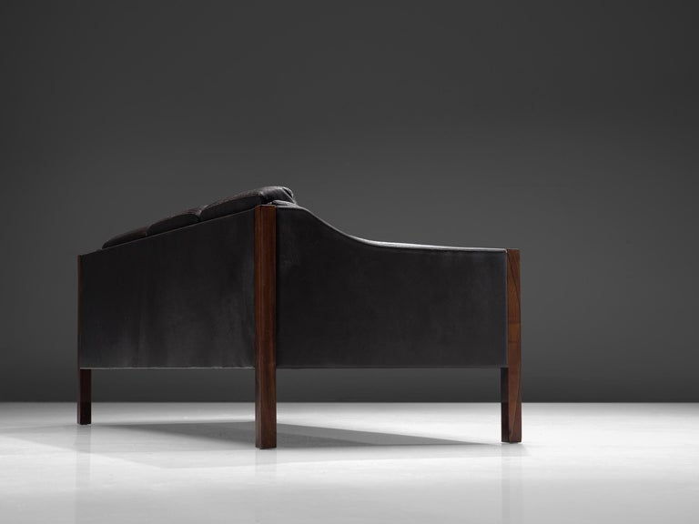 Danish Erik Jørgensen Sofa in Dark Brown Leather and Rosewood For Sale